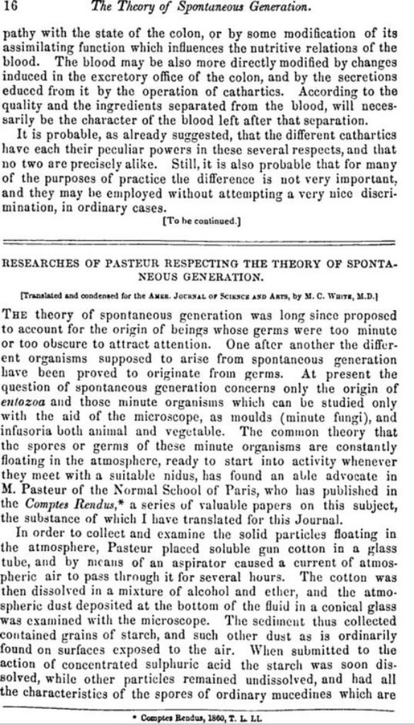 Researches of Pasteur Respecting the Theory of Spontaneous Generation